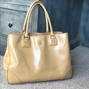 Tory Burch nude leather hand bag